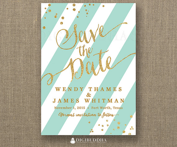 Digibuddha Etsy https://www.etsy.com/nl/listing/214879809/gold-glitter-save-the-date-invitation